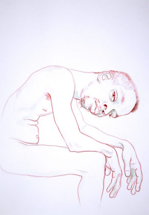 """Fahamu with Heavy Hands"", graphite and ink on paper, 16"" x 20"", 2010."