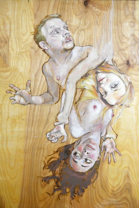 "detail of ""Five Panels/Two Stars"", oil on assembled wood, 66"" x 96"", 2008."
