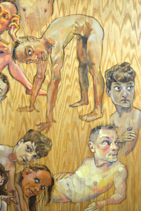 "detail of ""Seventeen Figures"", oil on wood panel, 48"" x 66"", 2010."