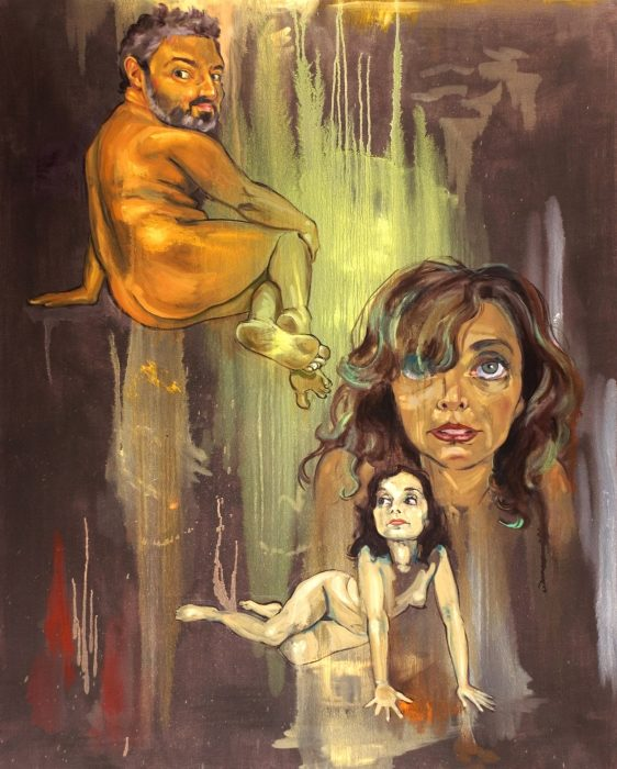"""Antonio with Double Amy"", oil on canvas, 48"" x 60"", 2007."