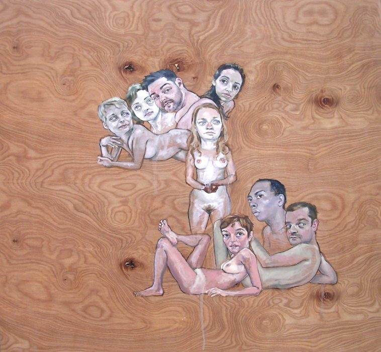 """Aleks with Seven Other Figures"", oil on wood, 48"" x 48"", 2008."